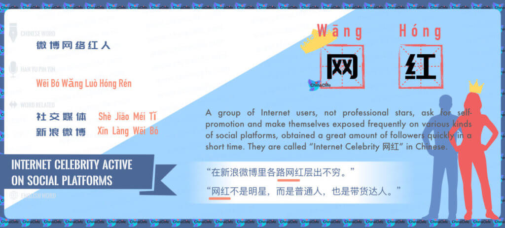 Say Internet Celebrity in Chinese, Wang Hong, Internet Celebrity on China's Social Platforms, China Sina Weibo's Internet Celebrity, Chinese Weibo Celebrities, Free Chinese Word Card Study