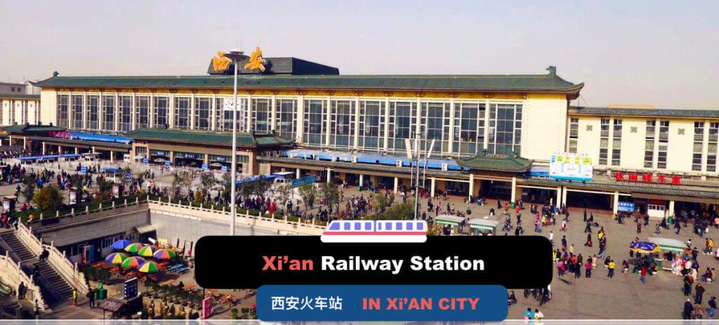 Xi'an Railway Station in Xi'an City, Sha'anxi province, China.