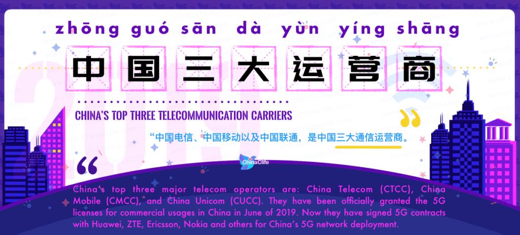 Learn Chinese Word zhong guo san da yun ying shang 中国三大运营商 zhōng guó sān dà yùn yíng shāng