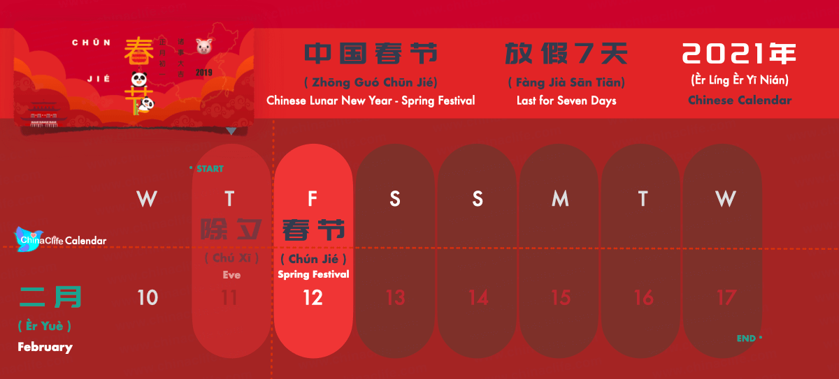 Chinese Spring Festival and Holidays Calendar 2021, Chinese Lunar New Year Festival 2021
