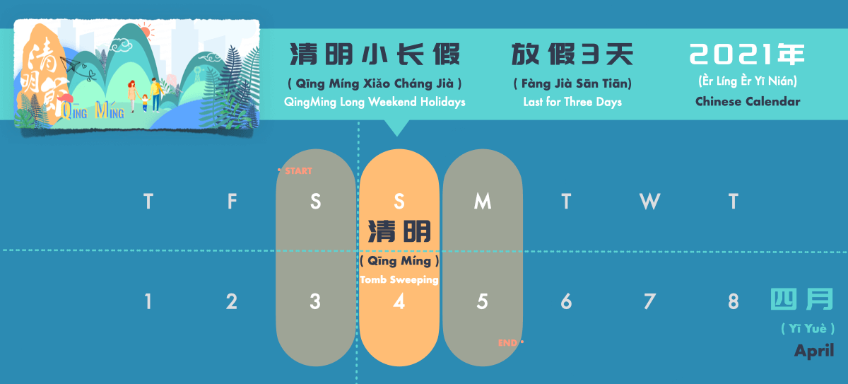 Chinese Qingming Festival and Holidays Calendar 2021