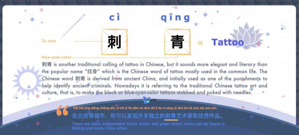 Tattoo's Another Common Word in Chinese with Pinyin and Example Sentences, another way to say tattoo in Chinese